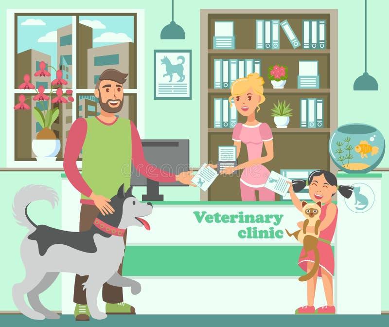 Bärtiger Mann der Karikatur mit Schlittenhund und Mädchen mit Katze stock abbildung