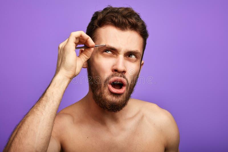 Bärtiger Mann konzentriert auf das Zupfen seiner Augenbrauen lizenzfreies stockfoto
