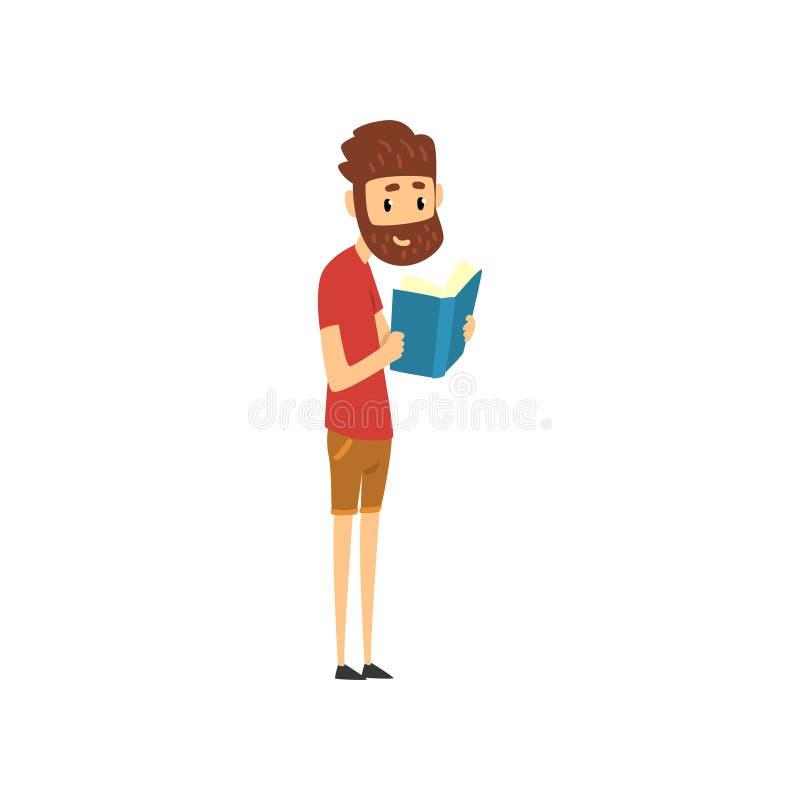 Bärtiges Mannstellungs- und -lesebuch, Leute, die Bücher in Buchhandlungsvektor Illustration auf einem weißen Hintergrund wählen stock abbildung