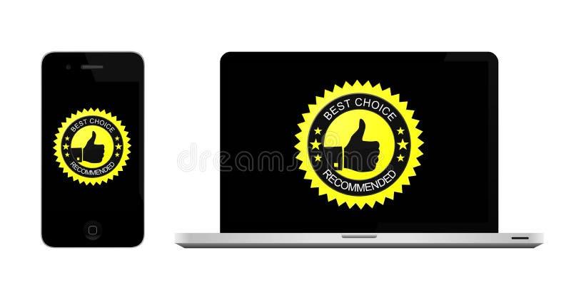 Bäst choice bärbar dator och smartphone vektor illustrationer