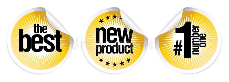 bäst ny produktetiketter stock illustrationer