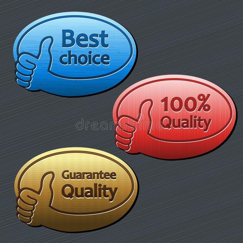 Bäst primat, kvalitets- garanti, 100 kvalitets- etiketter stock illustrationer