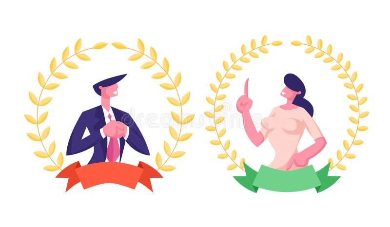 Bästa arbetaranställdbegrepp Chefer för affärsman och kvinnainom av den guld- kransen för guld- utmärkelse vektor illustrationer