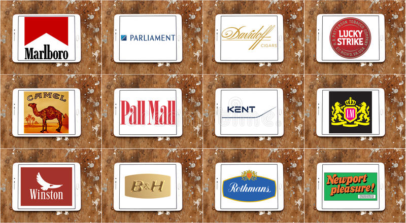 Bästa berömda cigarettmärken och logoer stock illustrationer