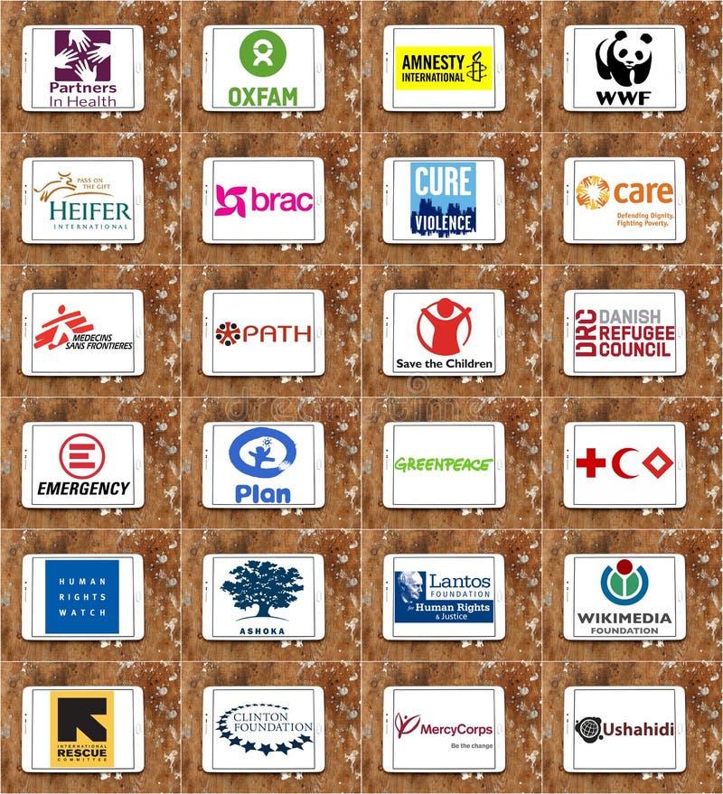 Bästa berömda logoer och symboler för non stats- organisationer (NGO) royaltyfri fotografi