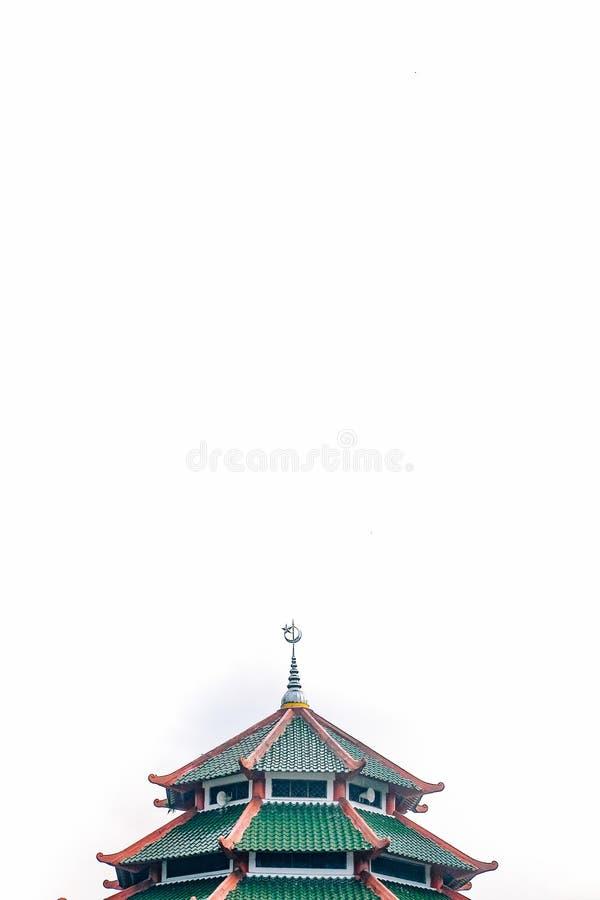 B?sta byggnad av den lokala mosk?n med arabisk och kinesisk aculturation Det byggde med pagodform och den crecent och stj?rnastat arkivfoton
