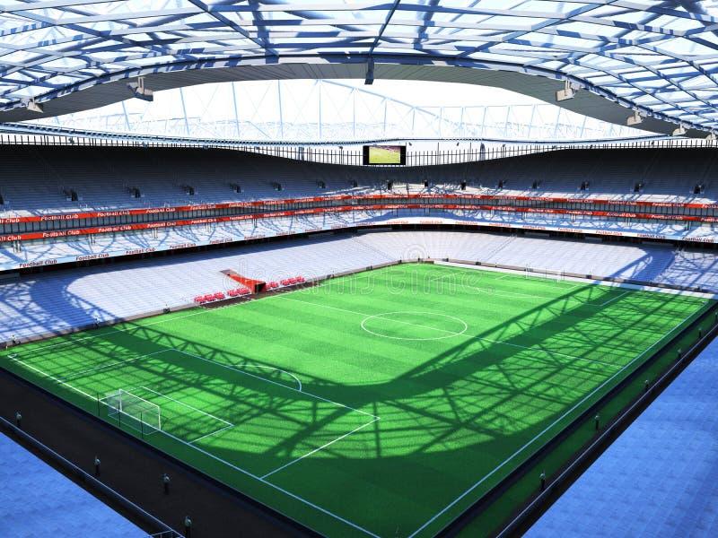 Bästa 3d tolkning för stadion, den imaginära fotbollarenan stock illustrationer