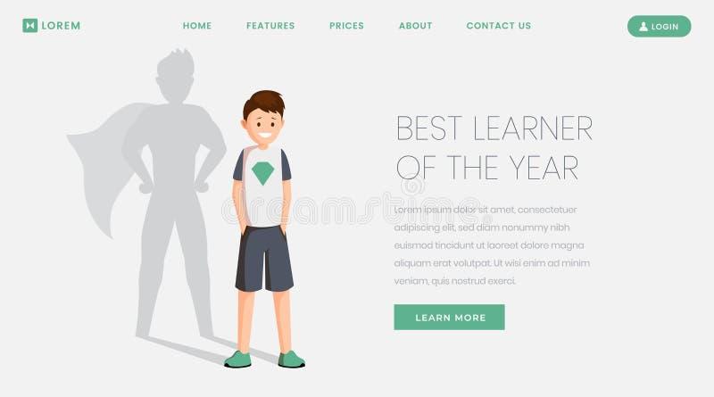 Bästa elev som landar sidavektormallen Bästa student, utmärkt skolbarn av årswebsiten, webpage lycklig schoolboy vektor illustrationer