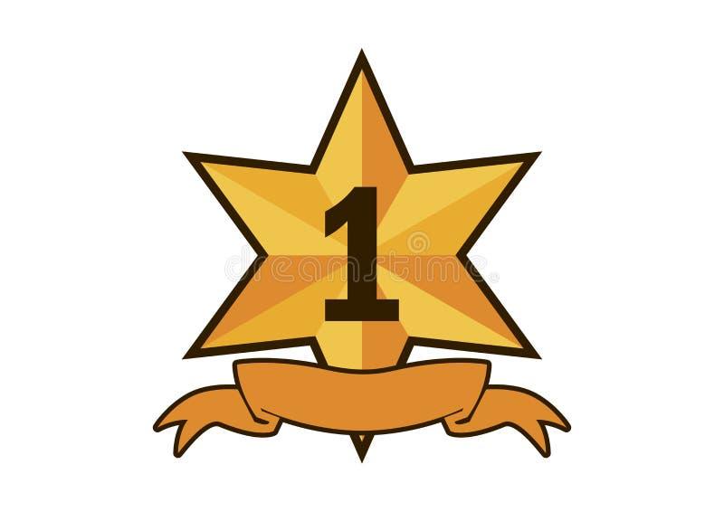 Bästa en guld- vektor för bandutmärkelsesymbol stock illustrationer