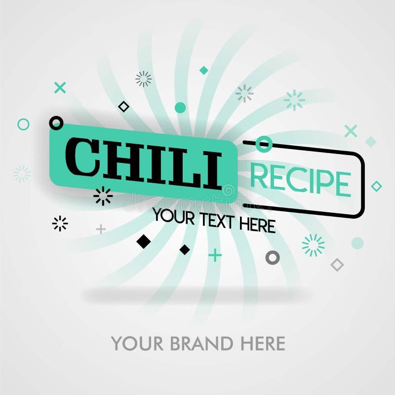 Bästa försäljning för chilirecept amerikanskt chilirecept, kryddigt mexicanskt recept chilikokbok vara för befordran och att anno stock illustrationer