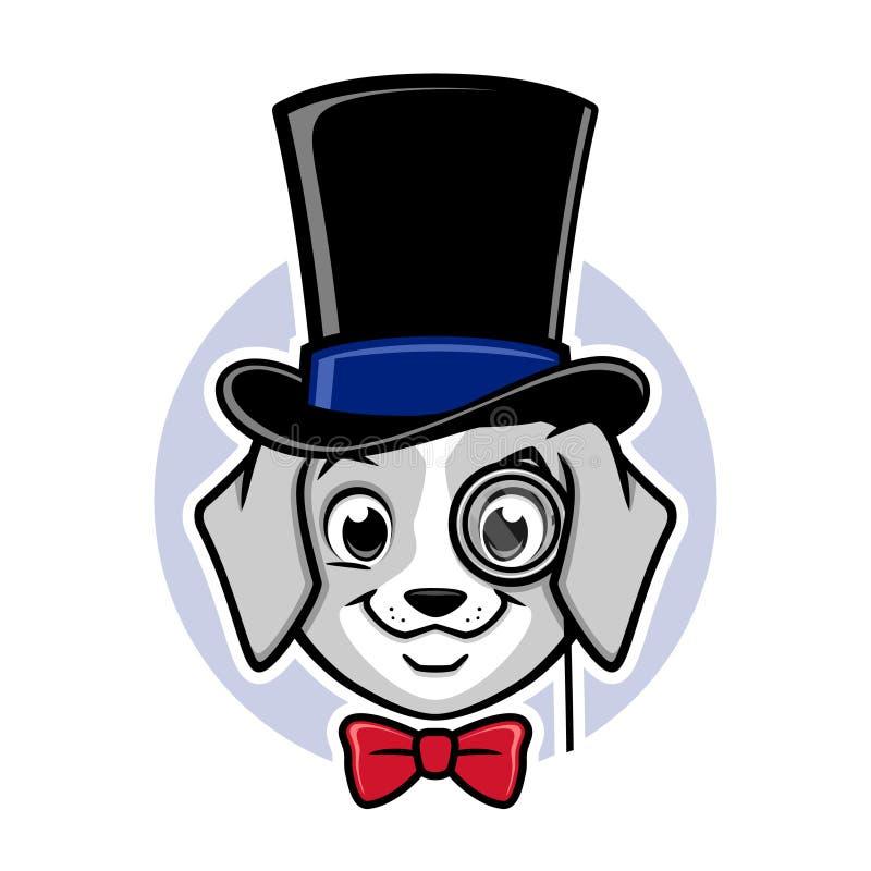 Bästa hatt för tecknad filmhund stock illustrationer