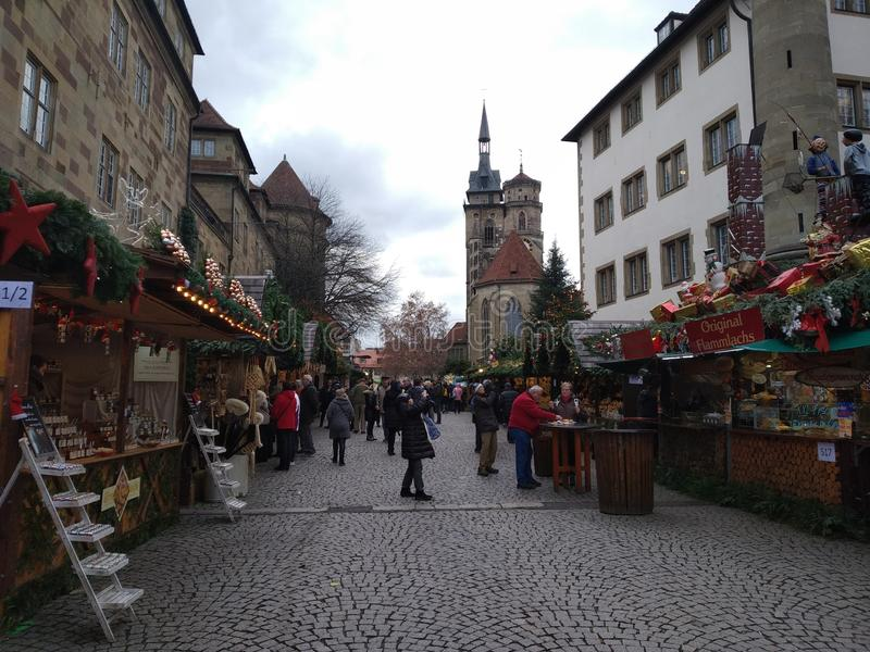 Bästa julmarknader i Tyskland Stuttgart royaltyfria foton