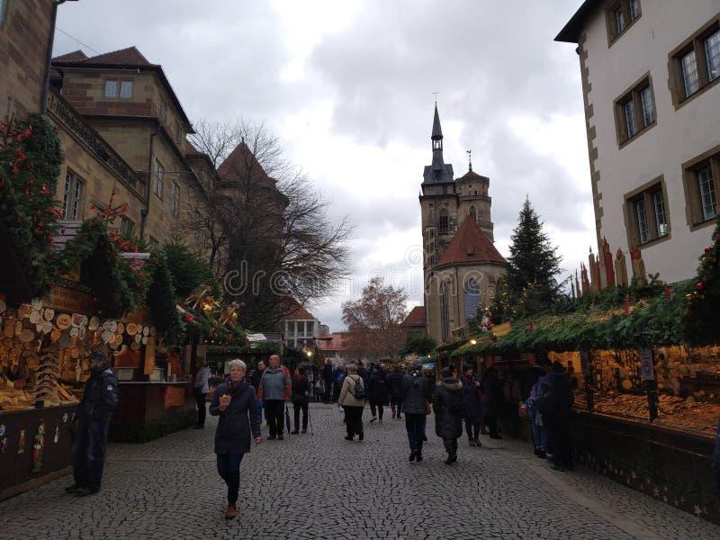 Bästa julmarknader i Tyskland Stuttgart arkivbild