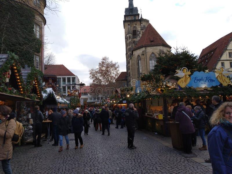 Bästa julmarknader i Tyskland Stuttgart arkivfoto