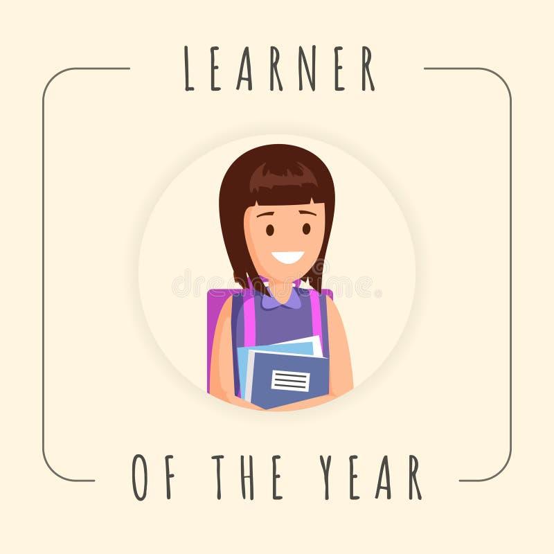 Bästa mall för elevvektorbaner Gullig flicka, kvinnlig elev, skolbarnfotografi i ram Motivational affisch för skola stock illustrationer