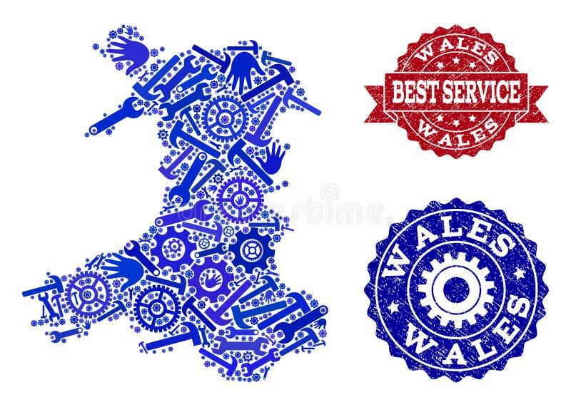 Bästa servicesammansättning av översikten av Wales och Grungevattenstämplar vektor illustrationer