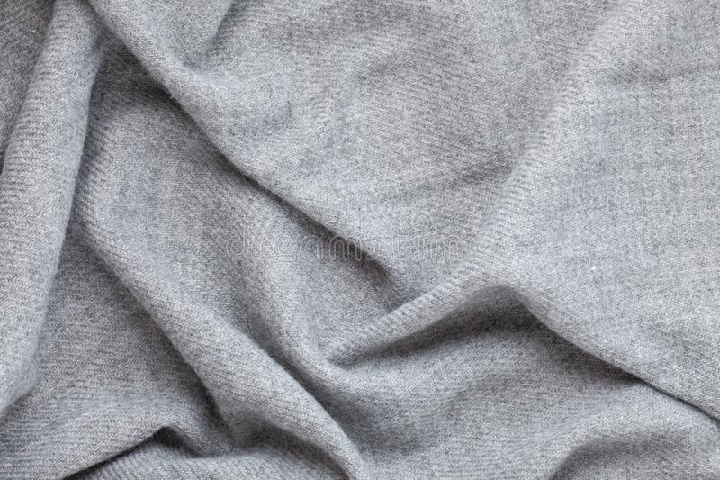 Bästa sikt över mjuk woolen grå textiltextur arkivfoto