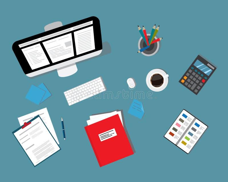 Bästa sikt av arbetsplatsbakgrund vektor illustrationer