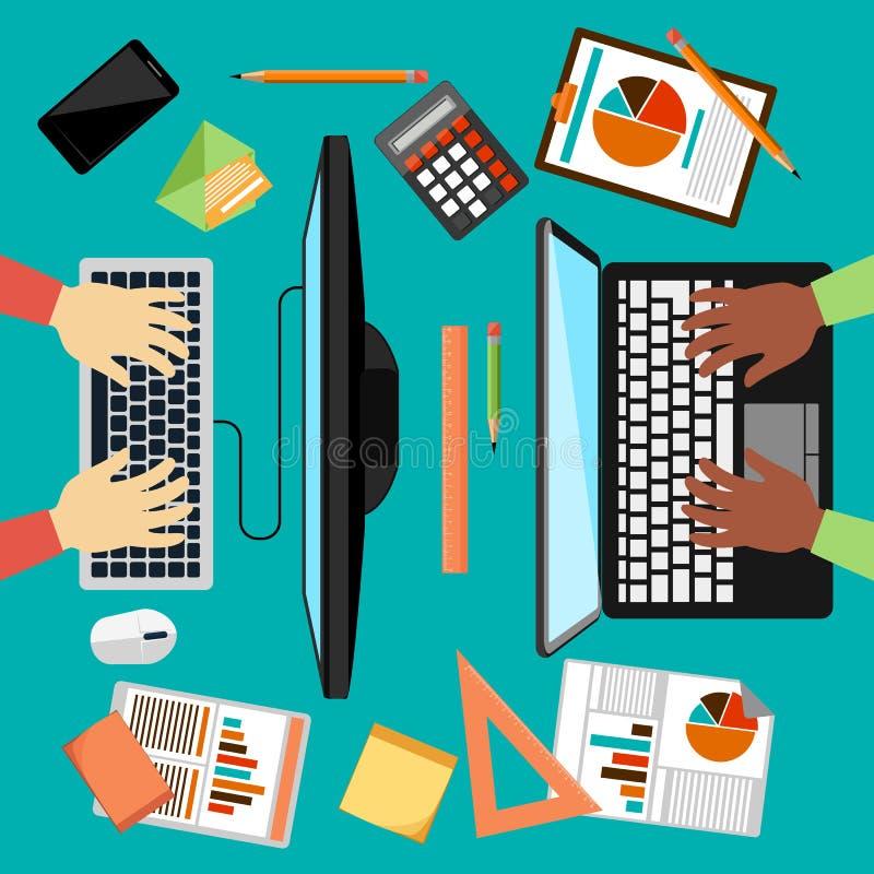 Bästa sikt av arbetsplatsen med bärbara datorn och apparater royaltyfri illustrationer