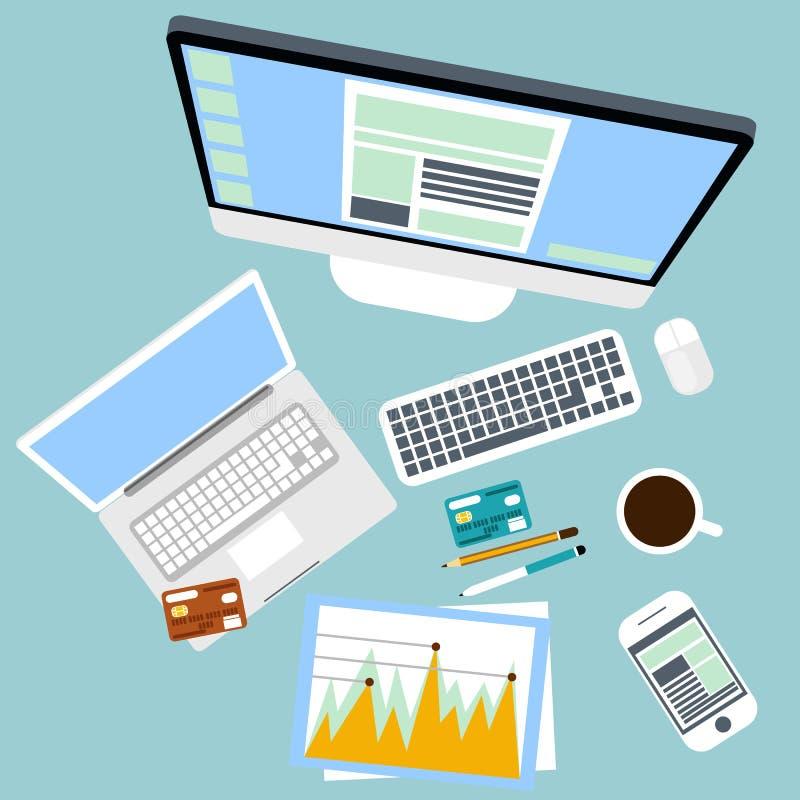 Bästa sikt av arbetsplatsen med datoren och apparater royaltyfri illustrationer