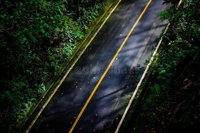 Bästa sikt av asfalttexturbakgrund Tom väg från bästa sikt fotografering för bildbyråer