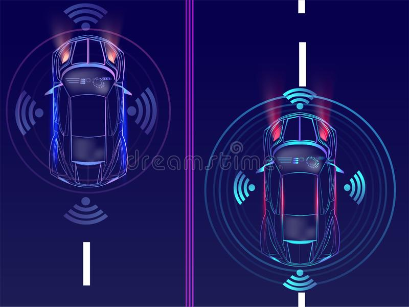 Bästa sikt av avlägsen avkänning, automatisk bil på stads- lanscapebac royaltyfri illustrationer