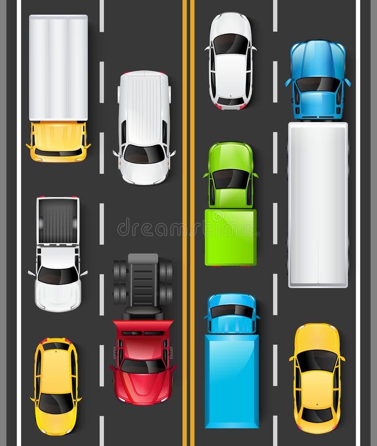 Bästa sikt av bilar och lastbilar på vägen Bilar kör på huvudvägen objects den isolerade roliga illustrationen för tecknad film v stock illustrationer