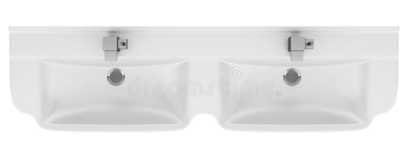 Bästa sikt av den dubbla keramiska badrumvasken som isoleras på vit royaltyfri illustrationer