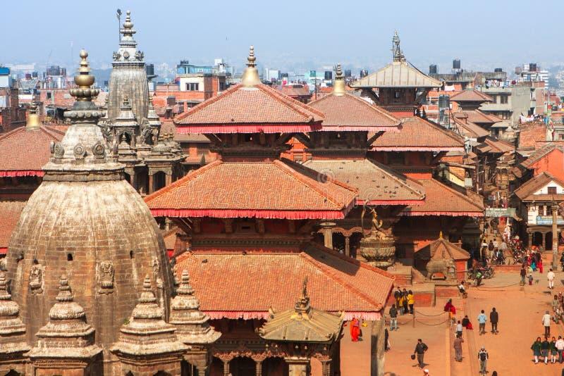 Bästa sikt av den Durbar fyrkanten i Katmandu royaltyfri bild
