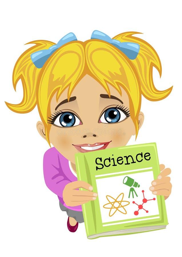 Bästa sikt av den erbjudande vetenskapsboken för gullig liten flicka stock illustrationer