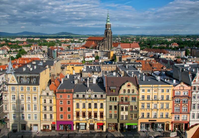 Bästa sikt av den gamla staden i Swidnica - Schweidnitz, lägre Silesia, Polen arkivfoto