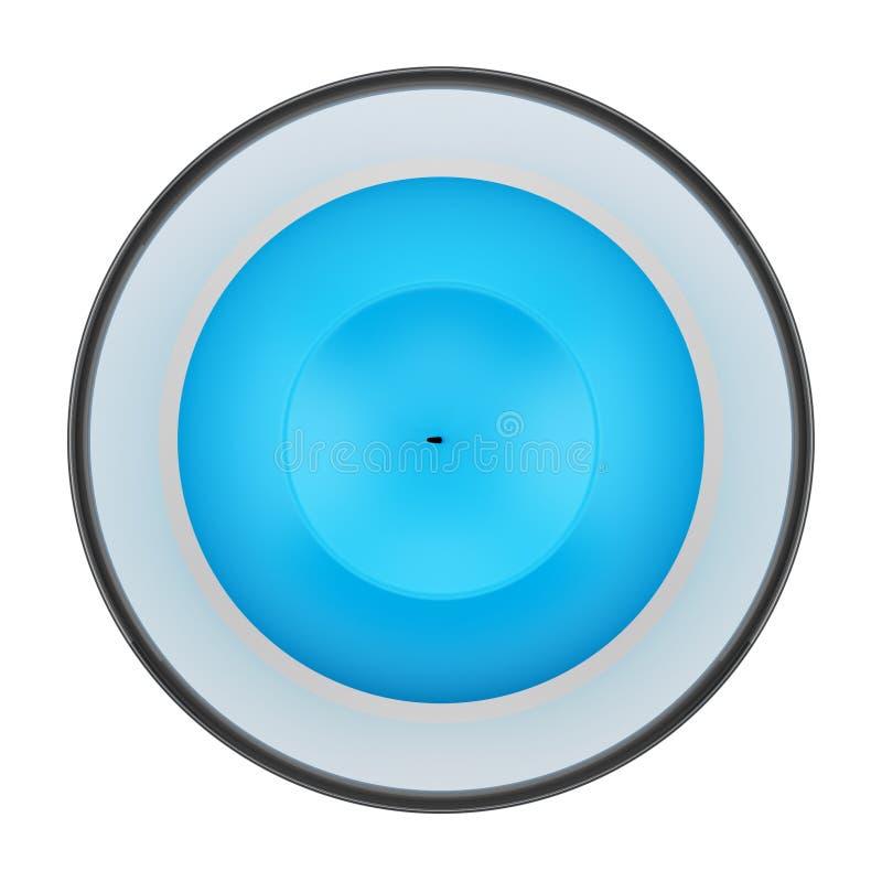 Bästa sikt av den glass ljusstaken med blåttstearinljuset som isoleras på vit vektor illustrationer