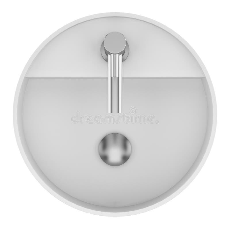 Bästa sikt av den keramiska badrumvasken som isoleras på vit vektor illustrationer