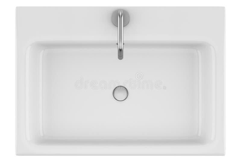 Bästa sikt av den keramiska badrumvasken som isoleras på vit royaltyfri illustrationer