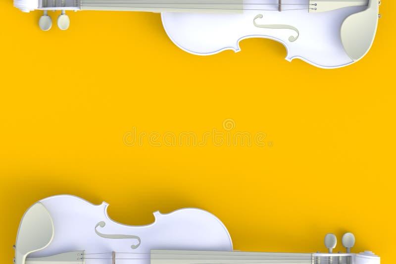 Bästa sikt av den klassiska vita fiolen som isoleras på gul bakgrund, radinstrument stock illustrationer
