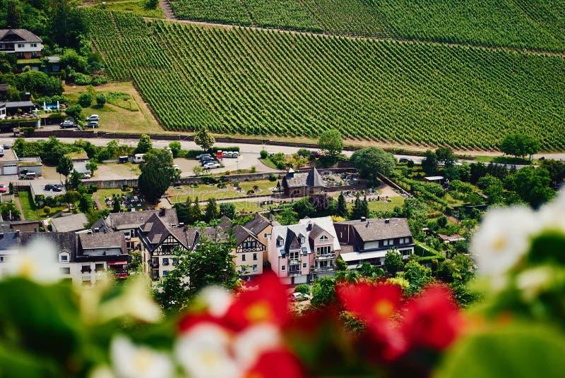 Bästa sikt av den lilla traditionella tyska byn och gräsplanvingården arkivbild
