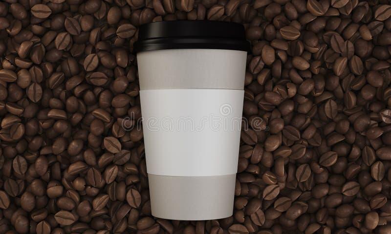 Bästa sikt av den pappers- koppen kaffe på dess bönor stock illustrationer