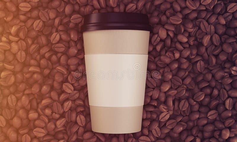 Bästa sikt av den pappers- koppen kaffe på dess bönor som tonas vektor illustrationer