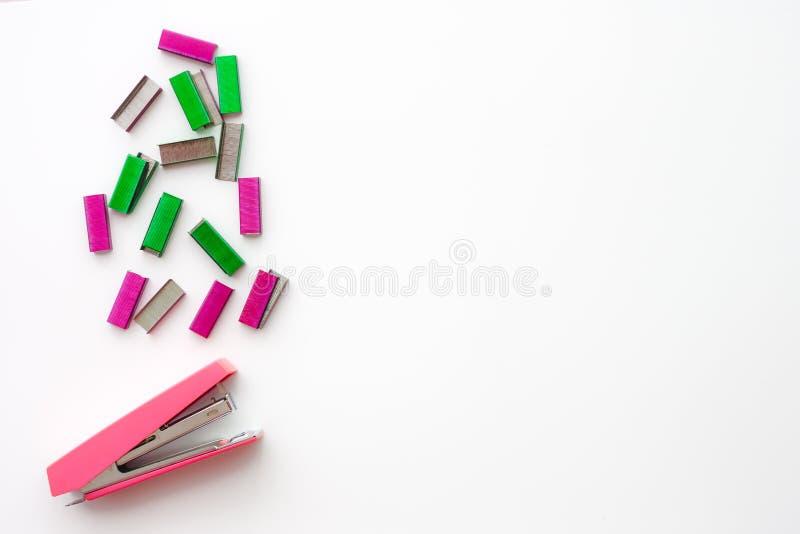 Bästa sikt av den rosa häftapparaten och färgrikt av häftklamrar royaltyfri foto
