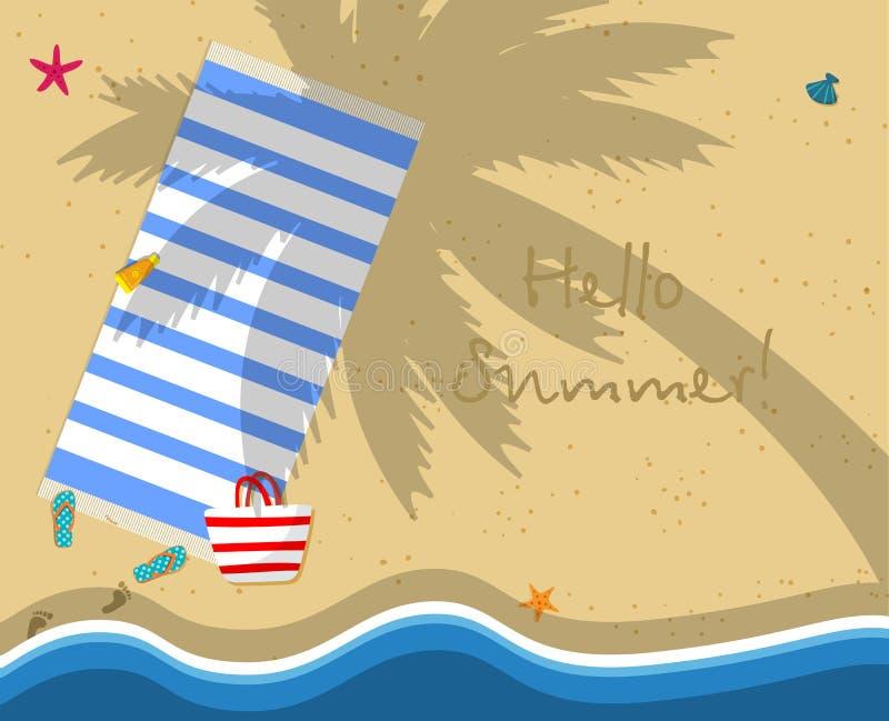 Bästa sikt av den tomma stranden med handduken, påse, häftklammermatare stock illustrationer
