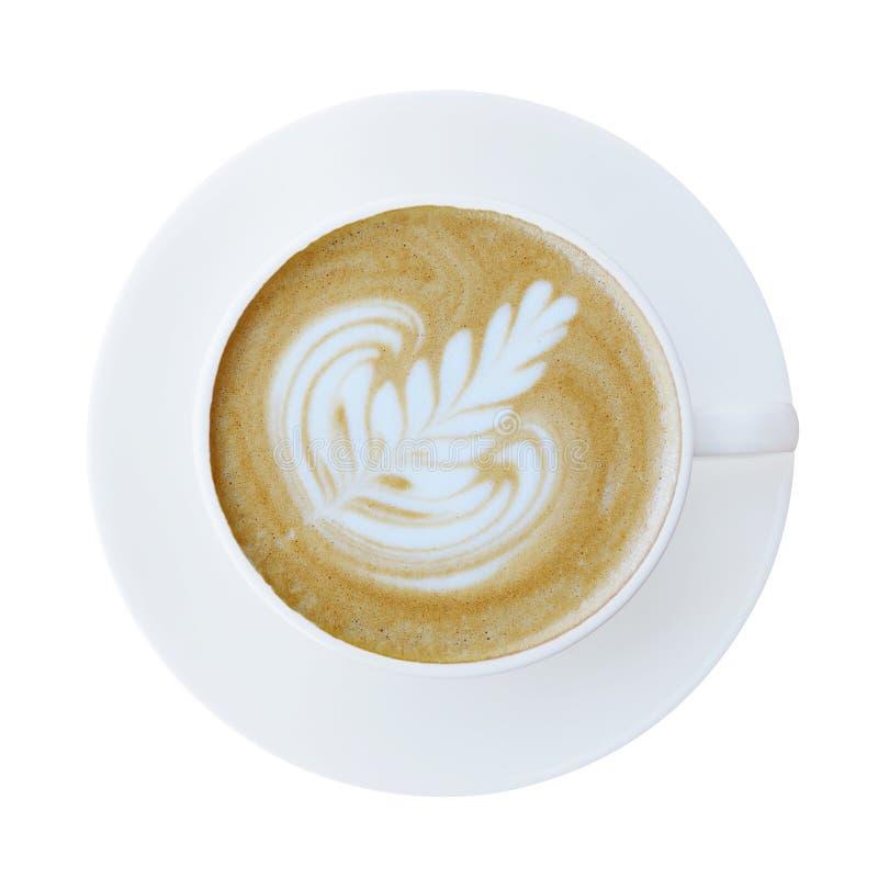 Bästa sikt av den varma koppen för kaffelattecappucino med det isolerade tefatet fotografering för bildbyråer