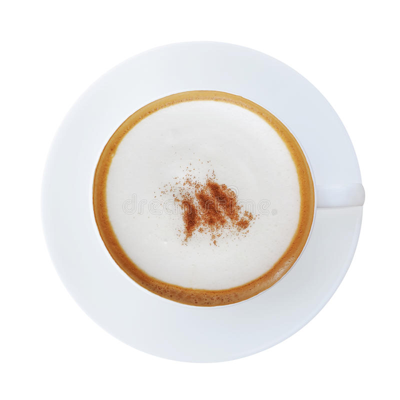 Bästa sikt av den varma koppen för kaffelattecappucino med det isolerade tefatet arkivbilder