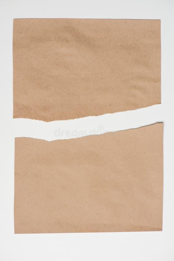 Bästa sikt av det rev sönder pappers- arket royaltyfria bilder