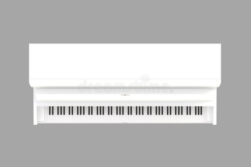 Bästa sikt av det vita pianot för klassiskt musikinstrument som isoleras på grå bakgrund, tangentbordinstrument vektor illustrationer