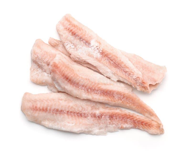 Bästa sikt av djupfrysta torskfiléer arkivfoto