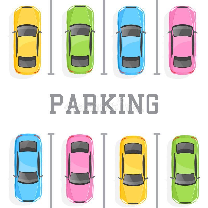 Bästa sikt av en bilparkering vektor illustrationer