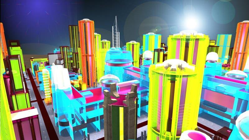 Bästa sikt av en faktisk metropolis vektor illustrationer