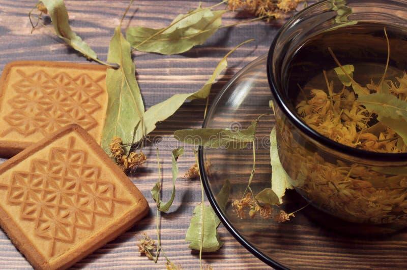 Bästa sikt av en kopp te från lindblommor Därefter på tabellen är ljusbruna och torkade lindblommor arkivbilder