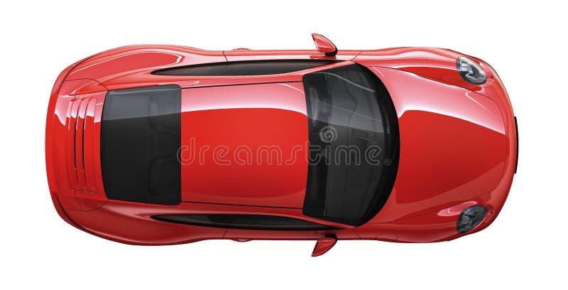 Bästa sikt av en röd fläckkupébil stock illustrationer