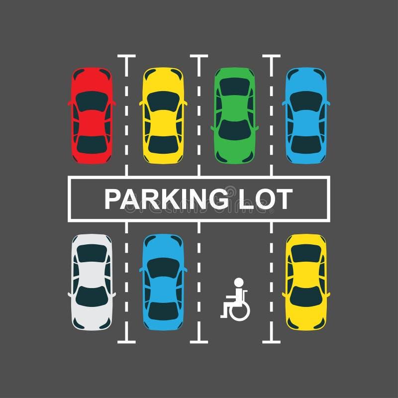 Bästa sikt av en stadsbilparkeringsplats royaltyfri illustrationer